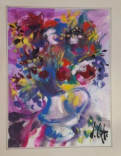 GRAC Yvon (né en 1945)  Bouquet de fleurs...