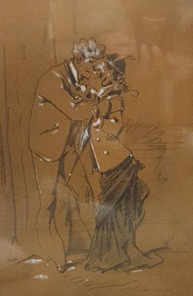 GRÉVIN Alfred (1827-1892)  Couple  dessin...