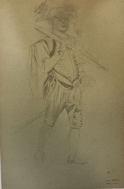 GROS Lucien-Alphonse, 1845-1913  Soldats...
