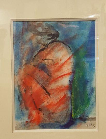 GUITTON Jean (1901-1999)  Nu rouge, 1969...