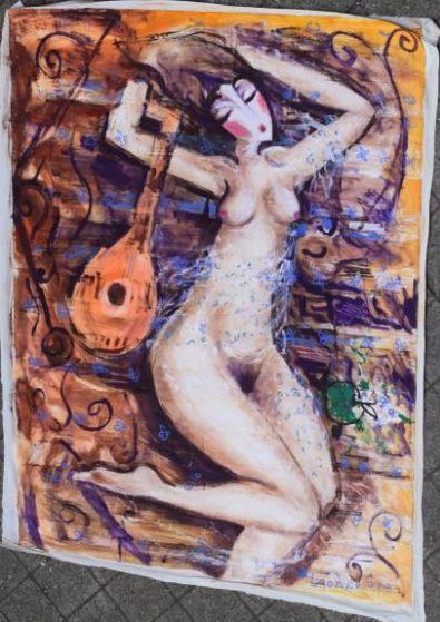 HRASARKOS (né en 1975)  Femme nue à la guitare...