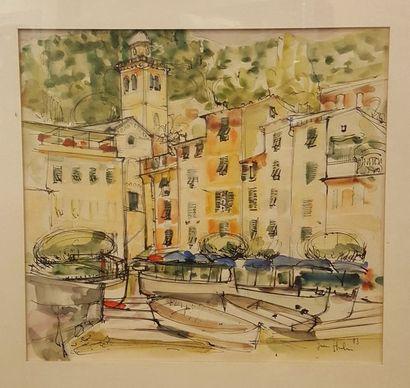 HULLIN Jean (né en 1920)  Le port, 73  Encre...