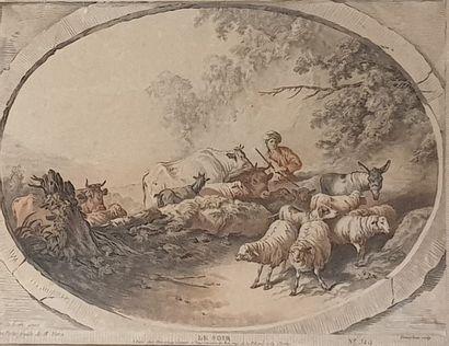 HUET Jean-Baptiste  Les 4 saisons  4 gravures...