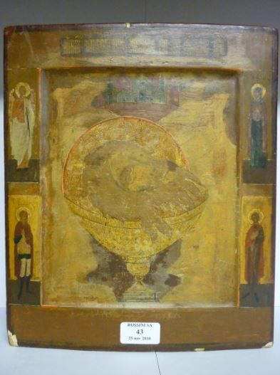 Icone, Russie XIXe siècle, Calice et saints...