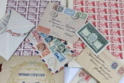 Un vrac feuilles de timbres d'Indochine,...