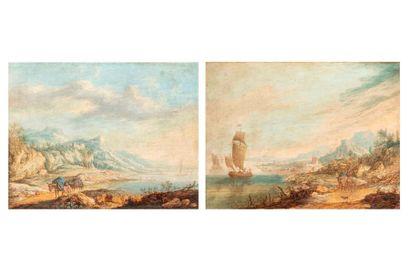 ECOLE du NORD ou RHENANE  Première Moitié du XVIIIe siècle    1 - Vue d'un fleuve...