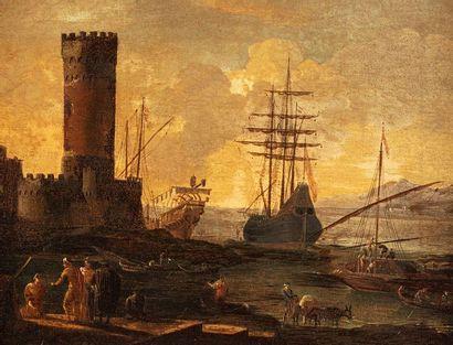 ECOLE ITALIENNE du XVIIe siècle    Scène...
