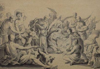 ECOLE FRANCAISE du XVIIIe siècle    L'Adoration...