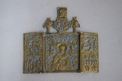 Triptyque, représentant Saint Nicolas au...