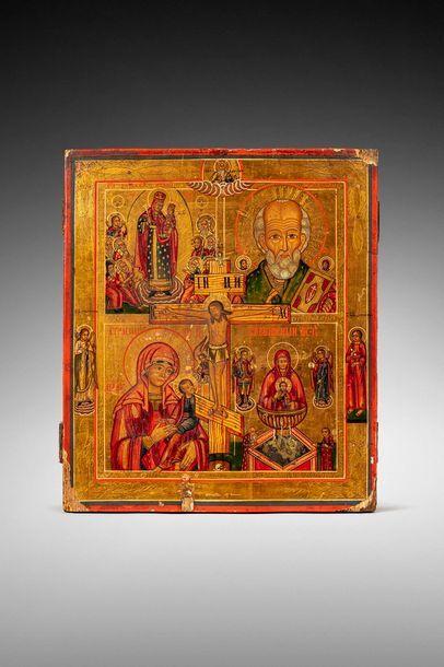 Icône de famille.  A quatre registres avec la crucifixion au centre, et sur les...
