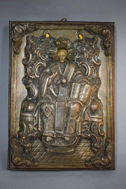 Saint Nicolas trônant  Belle oklad en métal...
