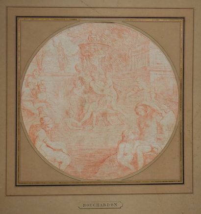 ECOLE FRANCAISE du XVIIIe siècle    Vénus et ses nymphes à la fontaine  Sanguine....