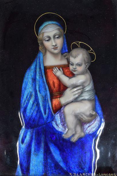 BLANCHER Ernest (1855-1935)  Vierge à l'enfant...