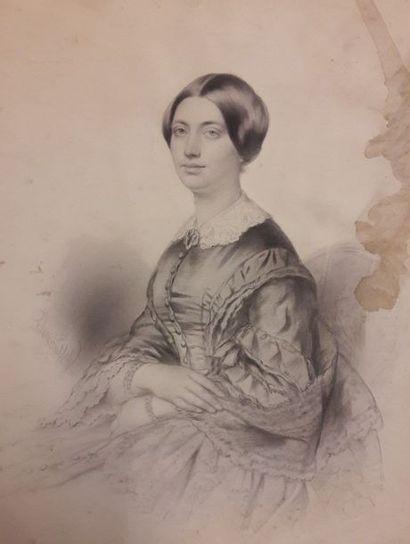 ECOLE FRANCAISE Milieu du XIXe siècle    Portrait...
