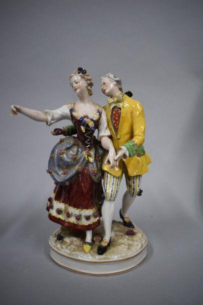 Allemagne fin XIXe  Couple dansant en porcelaine....