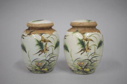 Paire de pots à thé en porcelaine de Chine...