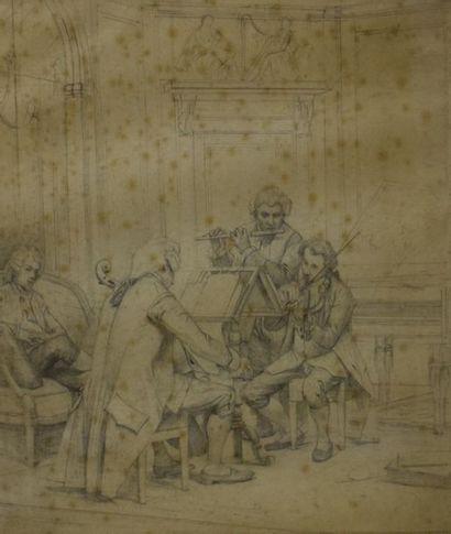 Groupe de trois musiciens jouant dans un...