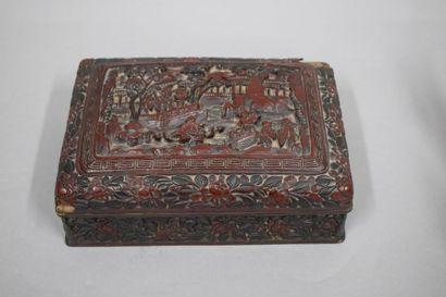 CHINE - XIXe siècle  Boite rectangulaire...