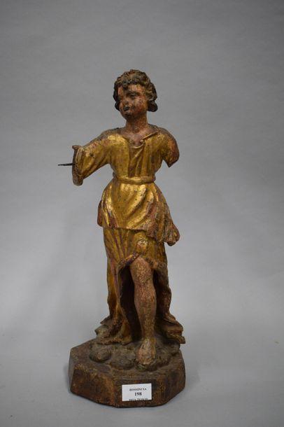 Statuette en bois doré et polychrome représentant...