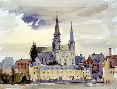 PREKAS Paris (1926-1999)  La cathédrale de Chartres, 9-3-1980  encre et aquarelle...