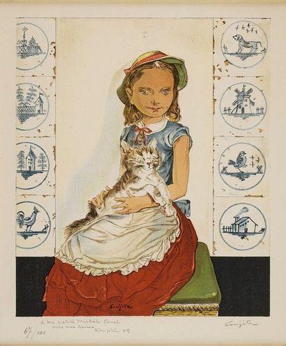 FOUJITA Léonard Tsuguharu FOUJITA Léonard Tsuguharu, 1886-1968  Jeune fille au chat,...