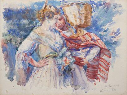 PERIS BRELL Julio PERIS BRELL Julio, 1866-1944  Deux jeunes femmes, Valence, 1918...