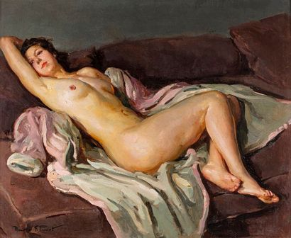 PERROT Maurice F PERROT Maurice F., 1892-1935  Nu au peignoir  huile sur panneau...