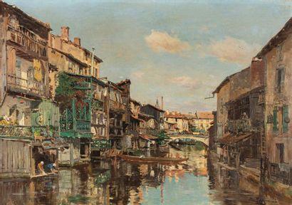 PETITJEAN Edmond Marie PETITJEAN Edmond Marie, 1844-1925  Maisons en bord de canal...