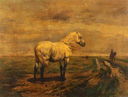 VERWEE Alfred Jacques VERWEE Alfred Jacques, 1838-1895  Le cheval blanc  huile sur...