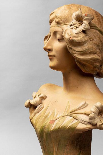 DE RANIERI Aristide DE RANIERI Aristide, 1880-1914  Jeune fille aux fleurs  buste...