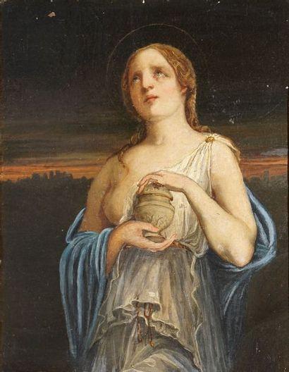 ÉCOLE FRANÇAISE DU XIXème siècle  Sainte Marie Madeleine  huile sur toile rentoilée...