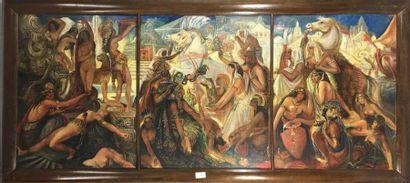 ÉCOLE MODERNE  Sacrifices et offrandes, le royaume des dieux  triptyque à l'huile...