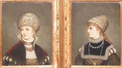 ÉCOLE XIXème siècle  Princesses  paire d'huile sur toiles (petite restauration à...