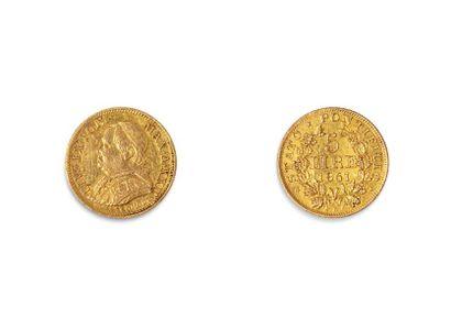 PIE IX (1846.1878)  5 Lires or. 1867 Rome....