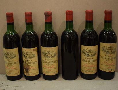 6 bouteilles CH. CARDINAL-VILLEMAURINE,...