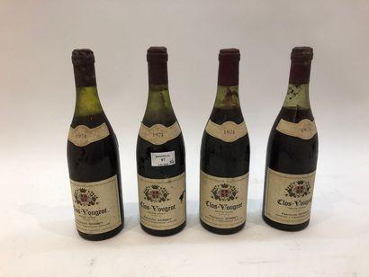 4 bouteilles CLOS-VOUGEOT, F. Gerbet 1974...