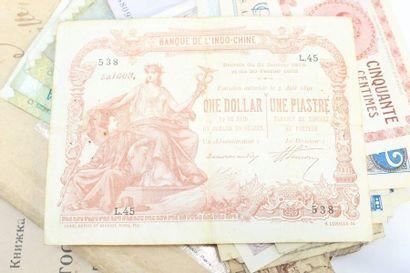 Billet de 1 dollar - 1 piastre marron Indochine...