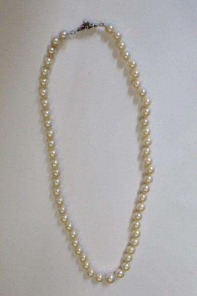Collier de perles choker, fermoir en or blanc...