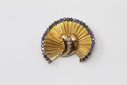 Broche éventail en or jaune 18k (750), le...
