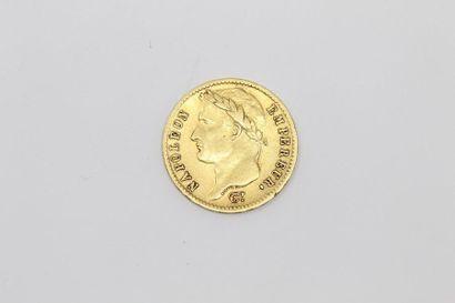 Pièce en or de 20 francs Napoléon Empereur...