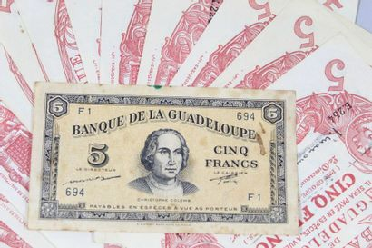 12 billet de 5 Francs CABASSON Rouge GUADELOUPE...