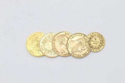 Lot de quatre pièces en or de 20 francs :...