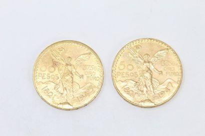 Deux pièces en or (900) de 50 pesos.  TB...
