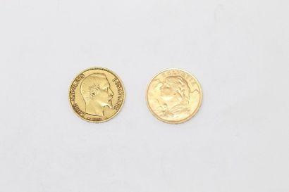 Deux pièces en or de 20 francs :  - Louis-Napoléon...