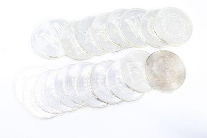 Lot de 20 pièces en argent de 50 francs Hercule...