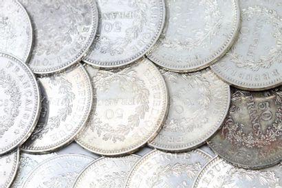 Lot de 33 pièces en argent de 50 francs Hercule...