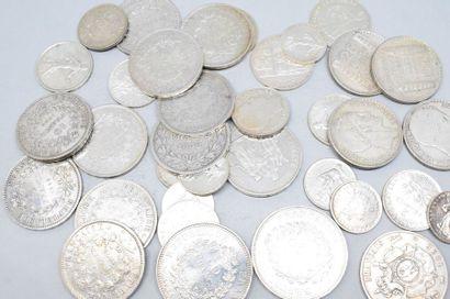 Lot de pièces en argent composé de :  5 Francs,...