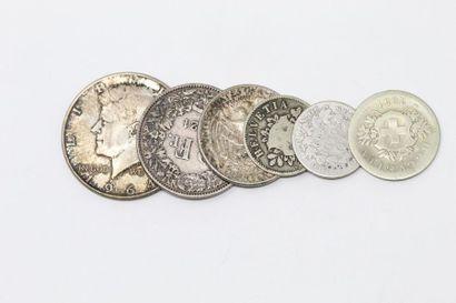 Ensemble de six pièces en argent, Suisse...
