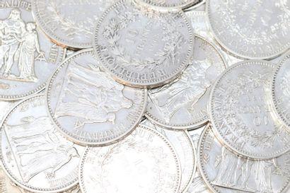 Lot de 18 pièces en argent de 10 Francs et...