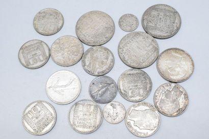 Ensemble de pièces françaises en argent dont...
